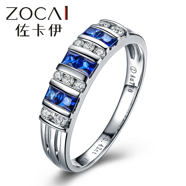 BRAND RING REAL 18K WHITE GOLD 0.4 CT REAL BLUE SAPPHIRE RING 0.17 CT DIAMOND RING