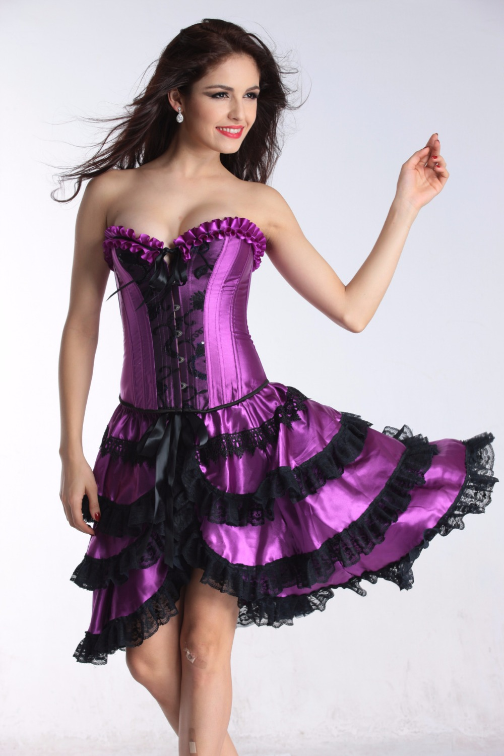party long corset overbust bustier black purplevictorian corset dress gothic sexy burlesque exotic tutu skirt corset