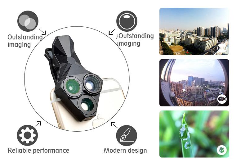Ulanzi 3 in 1 Phone Camera Lens Kit Wide Angle Macro Fisheye Lens for iPhone Samsung HUAWEI VIVO Xiaomi Smart Mobile phones 5