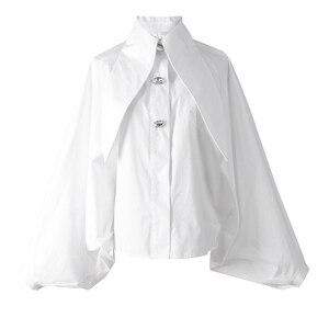 Image 5 - [EAM] 2020 New Spring Summer  Lapel Long Lantern sleeve Nailed Temperament Large Size Brief Shirt Women Blouse Fashion JH362
