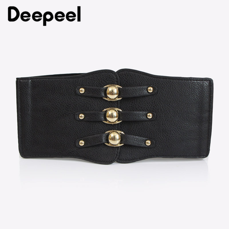 Deepeel 1pc Fashion Ladies Elastic Width Belt Wild Elastic Cummerbunds PU Coat Decoration Cummerbunds Leather Crafts Accessories