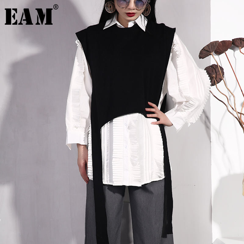 EAM 2019 New Spring Summer Lapel Long Sleeve Ruffles Stitch Loose Ribbon Vest Two Piece