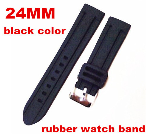 Wholesale 50pcs lot High quality 24MM rubber Watch band watch strap black color for wrist watch