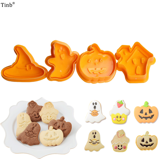 Bakeware 4pcs Halloween Theme Plunger Biscuit Mold Cutter plastic cookie cutter Biscuit Stamp Mould Fondant Tool Pastry  tools
