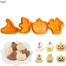 Bakvormen 4 Stuks Halloween Thema Plunger Biscuit Mold Cutter Plastic Cookie Cutter Biscuit Stempel Schimmel Fondant Tool Pastry Gereedschap