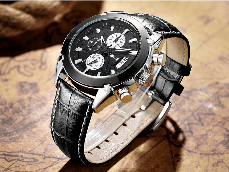 Baogela Mens Chronograph Luminous Hands Date Indicator Fashion Causal Leather Strap Sport Quartz Wrist Watches 15