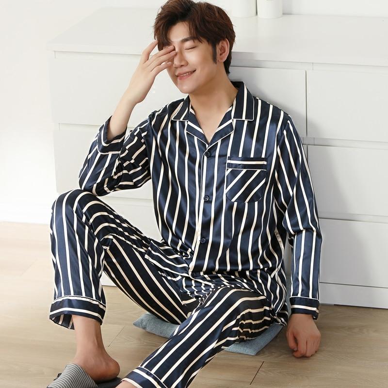 Silver Stripe Satin Men Pajama Sets Long Sleeve Autumn Silk Sleepwear For Men Suit Pijama Man Summer Two-Piece Pyjama L-XXXL