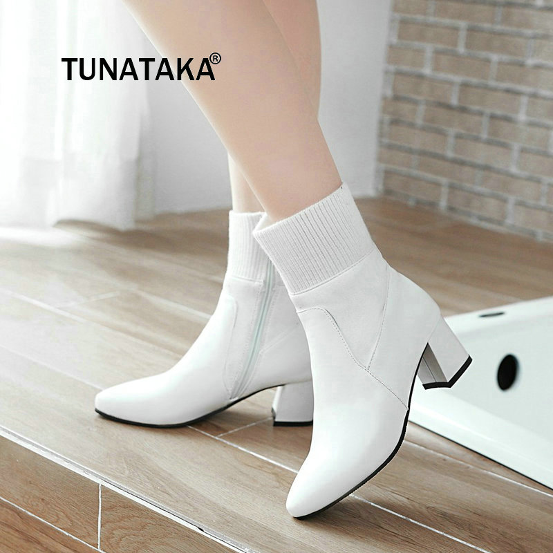 Women Comfortable Low Heel With Side Zipper Ankle Boots Fashion Pointed Toe Keep Warm Winter Shoes Black Pink Gray White women suede side zipper ankle boots warm comfortable low heel winter shoes black gray