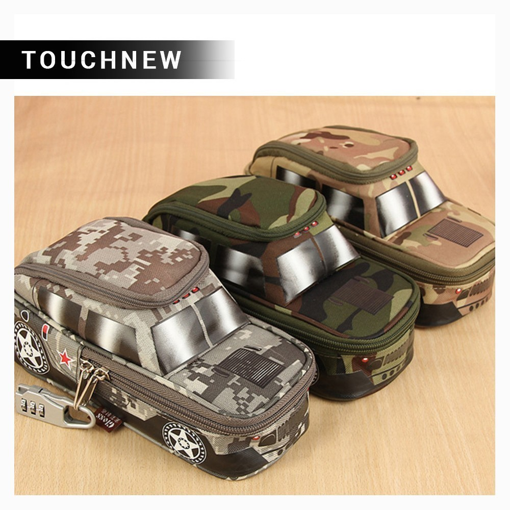 Hot Double Canvas Camouflage Zipper Large Pencil Case Vehicle Pen Pouch Bag with Combination Lock Boys Cute School supplies Best big capacity high quality canvas shark double layers pen pencil holder makeup case bag for school student with combination coded lock