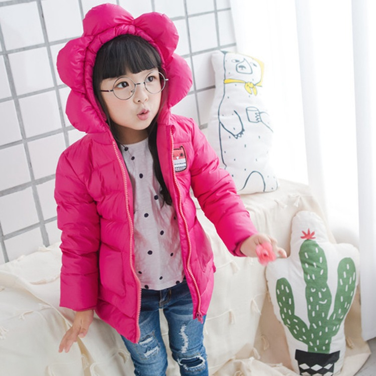 2017 new autumn winter baby girls down coats kids flower hooded jacket coats Children jackets outerwear flowers clothing new 2016 baby down coats set baby down jacket suspenders girl