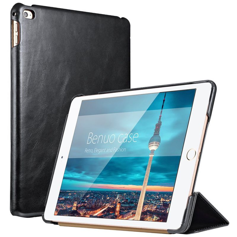 For iPad Air 2 Case Leather Ultrathin Flip Stand Folding Full Protective Genuine Leather Case For Apple iPad Air 2 Case Cover