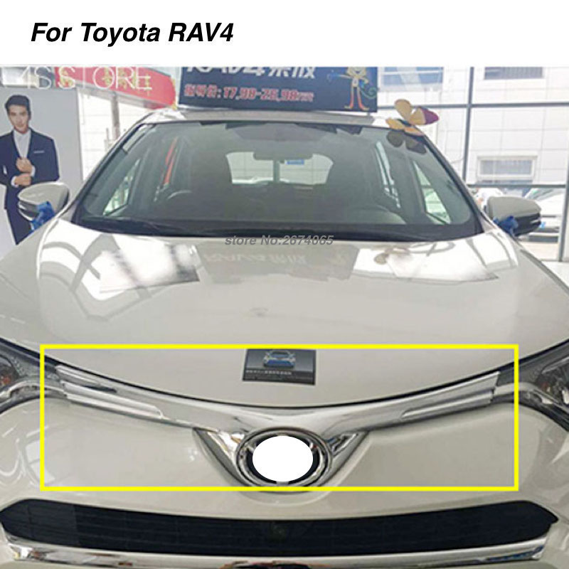 For Toyota RAV4 2016 2017 Front Grille Grill Cover Center Hood Car Logo Trim ABS Chrome Stickers RAV 4 Auto Styling Accessories for toyota prado 2018 abs front center grille cover racing grill trim car protective decoration exterior styling accessory