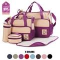 5 Pcs Mummy Bag For Baby Nappy Diaper Bags Suits For Mom Baby Bottle Holder Stroller Pram Maternity Bag Handbag, Free Shipping