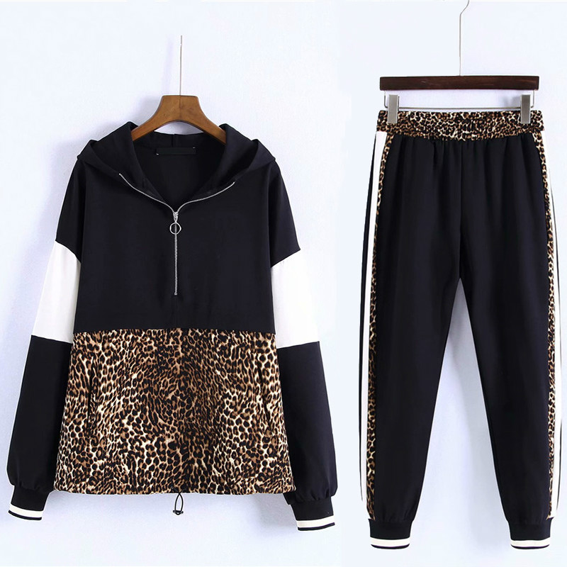 New Arrival Fall Women 2 Pieces Sets Leopard Spliced Sweatshirt Ankle Length Harm Pants Women Tracksuits Hoodies Outfiits