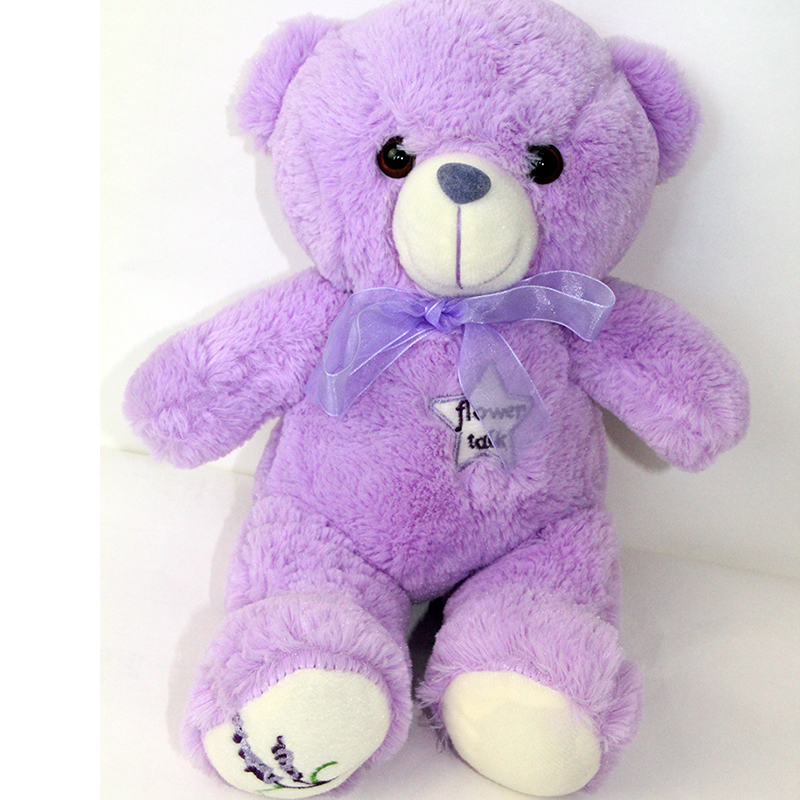 LREA 35CM Super  Soft Short Plush Cojines Material Small Bear Purple Lavender Cushion Toys Dried Lavender Sachet Containing