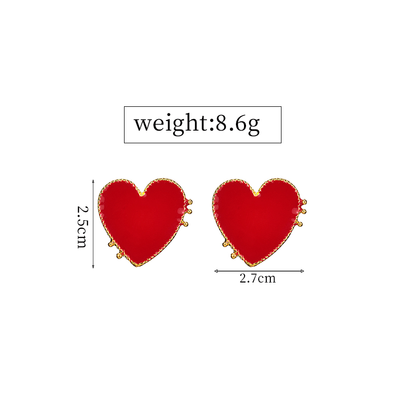 19 New Design Punk Gold Edge Red Acrylic Heart Stud Earrings For Women Bohemian Big Stud Earring Christmas Jewelry Gift 2