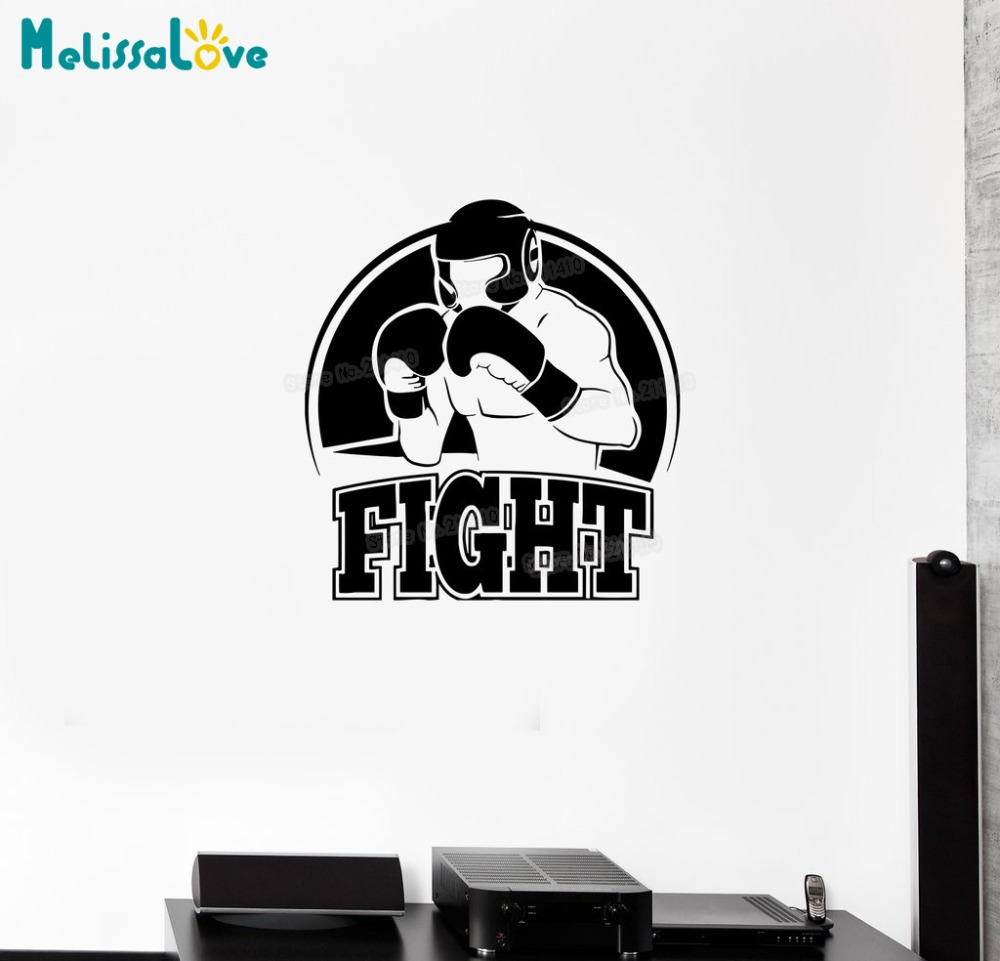 Novel Wall Decal Extreme Sports Boxing Fight Athlete Boxer Vinyl Sticker Home Decoration Living Room Art Unique Gift YY751