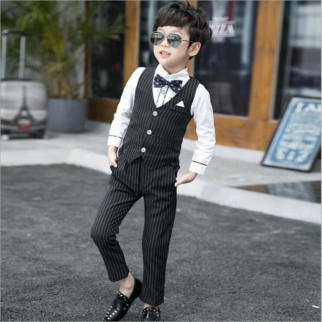 93245ee3f2 high quality gentlemen stripe blazer clothing for boys 3pcs set birthday party  clothes suits Boy Best-man wedding garment