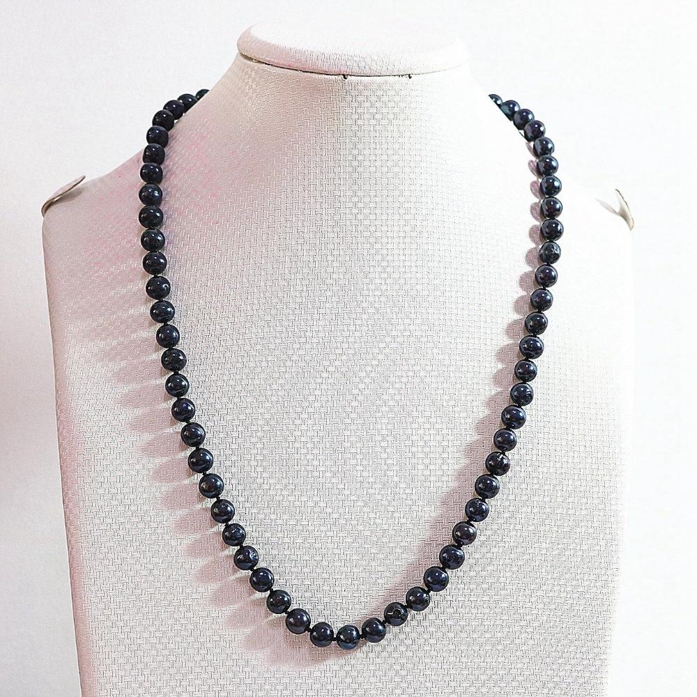 8c9eae3fb8dc ᗑBalck naturel perle 7-8mm vente chaude diy collier 25 B729 - a36