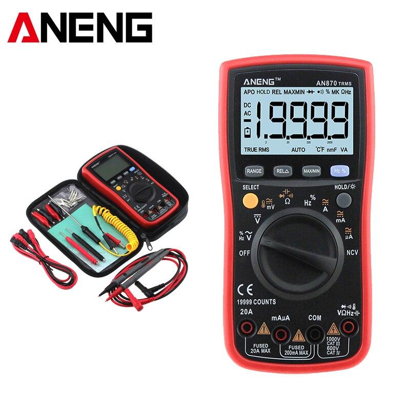 AN870 Auto Gamme Multimètre Numérique Vrai RMS PCI Ohm Mètre AC DC Tension Ampèremètre Voltmètre Transistor Testeur Plomb de Sonde