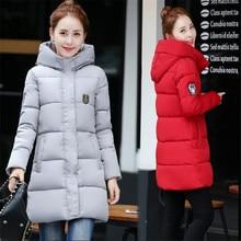 Новые зимние женские вниз Хлопчатобумажная Куртка Мода для девочек мягкий толще повседневные Пиджаки Длинная зимняя женские пальто