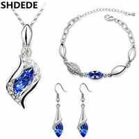 SHDEDE Crystal from Swarovski Female Bridal Jewelry Sets For Women Necklaces Earrings Bracelets Party Gift 6008