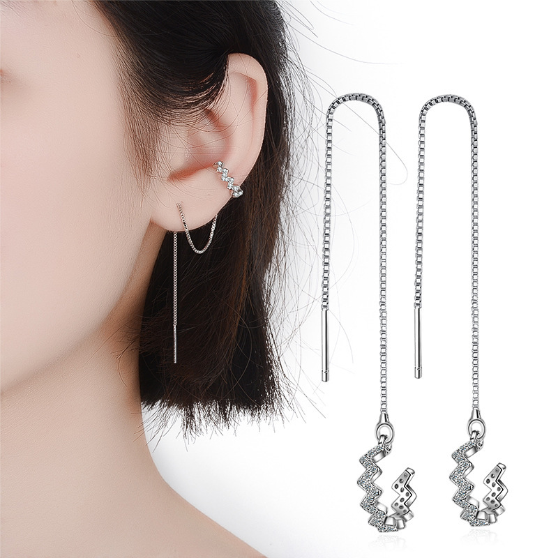 1 Pieces 925 sterling Silver Tassel Ear cuff Female Long Line Ear Clip Design Zircon Clip Earrings For Women New Korean Jewelry