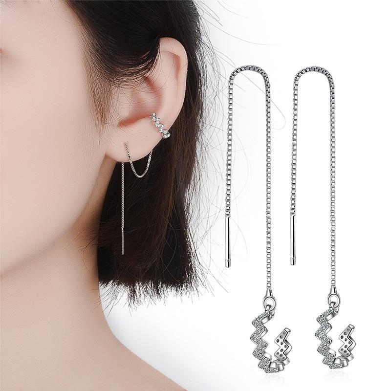 1 Pieces 925 sterling Silver Tassel Ear cuff Female Long Line Ear Clip Design Zircon Clip Earrings For Women New Korean Jewelry