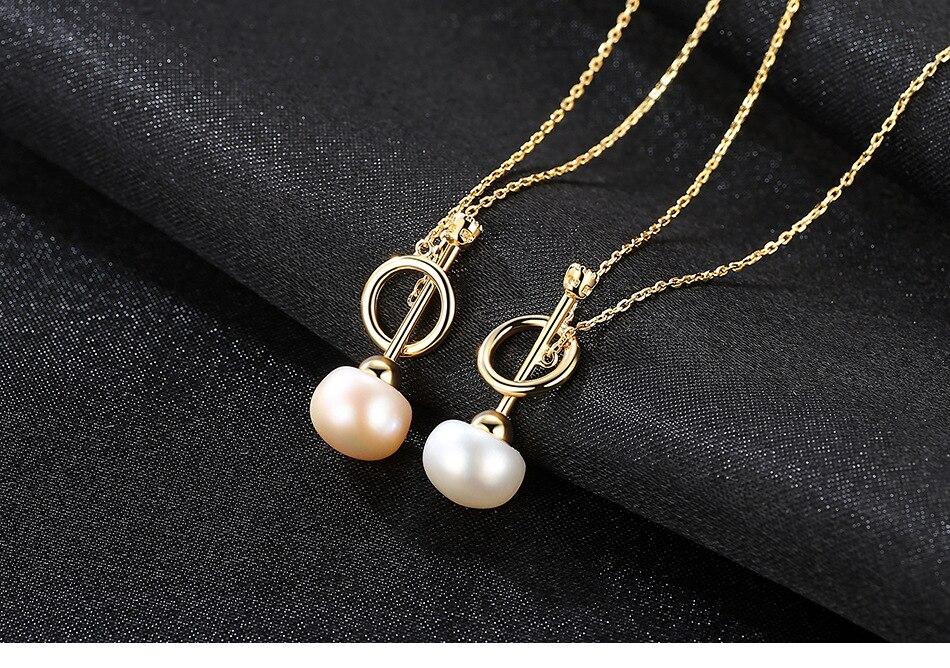 S925 sterling collier en argent perle d'eau douce naturelle simple mode accessoires LBM14