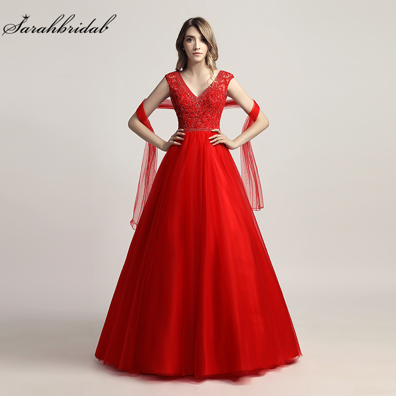 Real Photos Newest Luxury Formal Elegant Long   Prom     Dresses   A Line V Neck Sleeveless Beading Gown Robe De Soiree LSX426