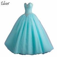 Cheap Hot Pink Light Blue Quinceanera Dresses Sweet 16 Ball Gowns Beaded Crystal Sleeveless Vestidos De