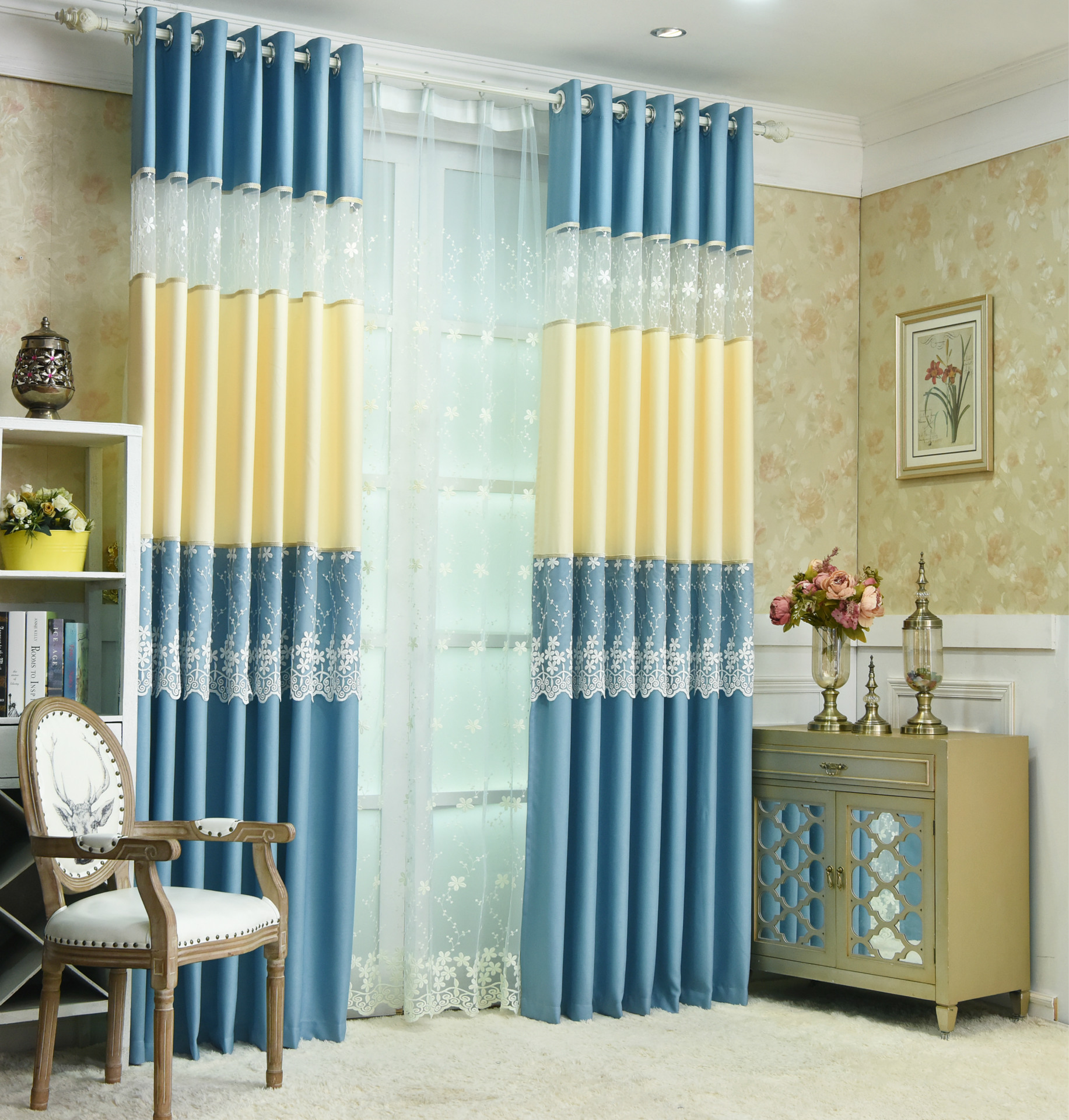 Korean Rustic Style Curtains For Living Room Curtains