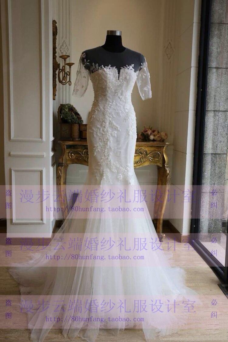 Lace Appliques Vestido De Noiva 2018 Robe De Mariee Romantic Half Sleeves Mermaid Weddings Bridal Gown