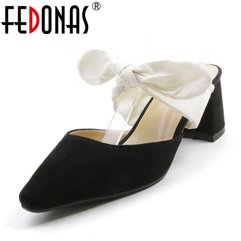 FEDONAS Women Sandals Gladiator High Heels Suede Ribbon Bowknot Female Wedding Party Shoes Fashion Summer Autumn Ladies Shoes fedonas new women gladiator sandals wedges high heel fashion ladies glitters wedding party shoes woman platforms summer sandals