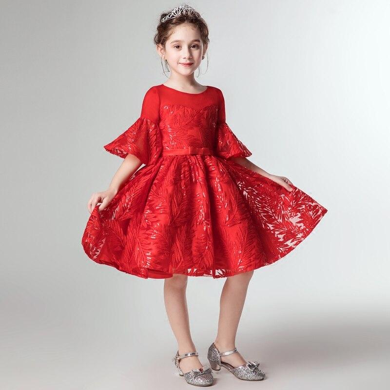 girls party dress kids elegant 2018 red girls dress 10 to