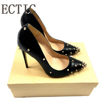 Brand Shoes Woman High Heels Pumps Rivets Womens Shoes Pumps 12CM Black Heels Woman Sexy Pointed