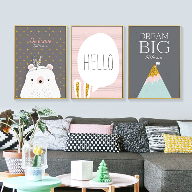 Cute Cartoon Pictures Canvas Poster Print Modern Wall Decor Painting Little One Canvas Art Print Poster Home Decor FG0018 in Painting Calligraphy from Home Garden