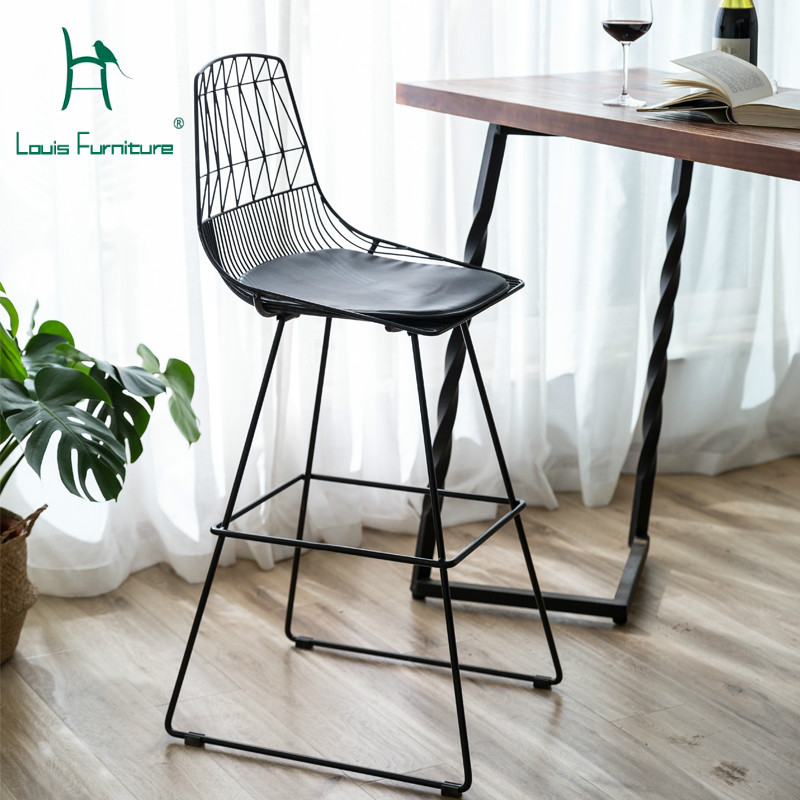 Outstanding Us 92 9 Louis Fashion Bar Stools Chairs Nordic Hollowed Back Personality Simple Modern Wire Mesh Metal Iron Art In Bar Chairs From Furniture On Caraccident5 Cool Chair Designs And Ideas Caraccident5Info
