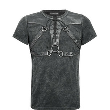 Brand Punk Men's Solider Short Sleeve T-shirt Gothic Goth Steampunk Men Rock Black Tops Summer Tshirts Streetwear T-424