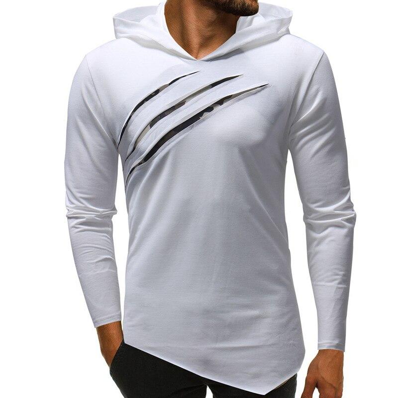 Hooded Men's T-shirt Spring And Autumn New Long-sleeved Streetwear V NecK T-shirt Men's Casual Slim Cotton T-shirt Men's Shirt