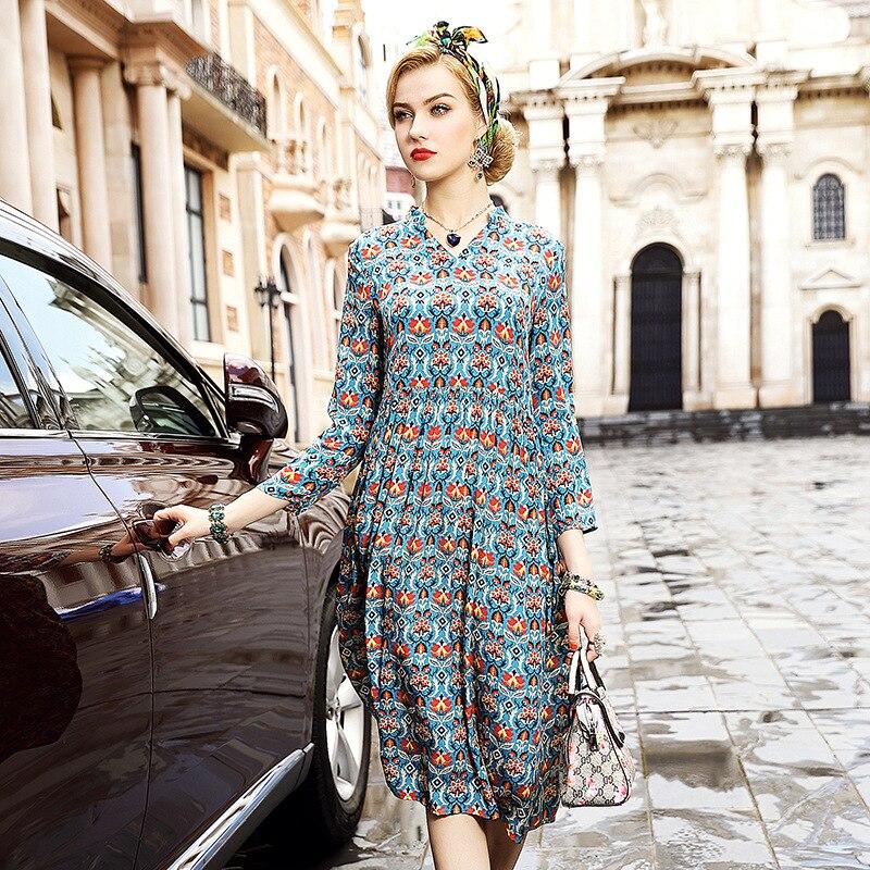A6HT701 European station women autumn Dress brand Clothes Women 100% silk Dress Seven Point Sleeve Print Dress