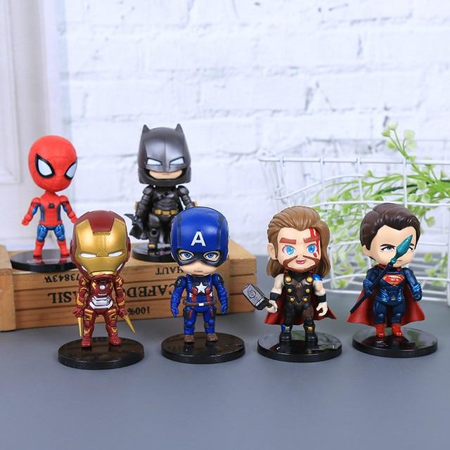 Promoção de super-heróis Vingadores Homem De Ferro Hulk Capitão América Superman Batman Figuras de Ação coleção presente de brinquedos para crianças