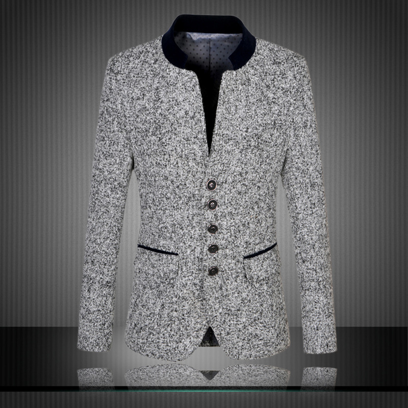 Black And White Blazer Men 2017 New Arrival Knitted Suit Jacket Men Slim Fit Terno Masculino Traje Hombre Plus Size men s knitted jacket