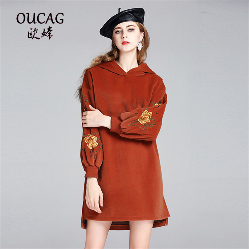 OUCAG New Winter Lantern Sleeve Sweatshirt Dress Women Casual Fashion Floral Embroidery Hooded Dress Loose Knitted Dresses pink casual embroidery floral pattern sweatshirt