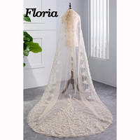 Velos De Novia 2018 3*1.5M White/Ivory/Champagne Cathedral Wedding Veil With Comb Appliques Bridal Veils Wedding Accesories