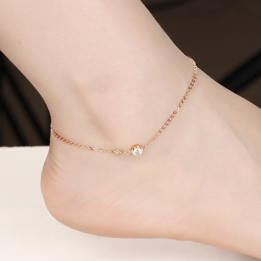 Lovely Girl Crystal Anklet Bracelet Foot Chain, Plated Rose Gold Anklets for Women Foot Jewelry Chaine Argent Indian Ankle