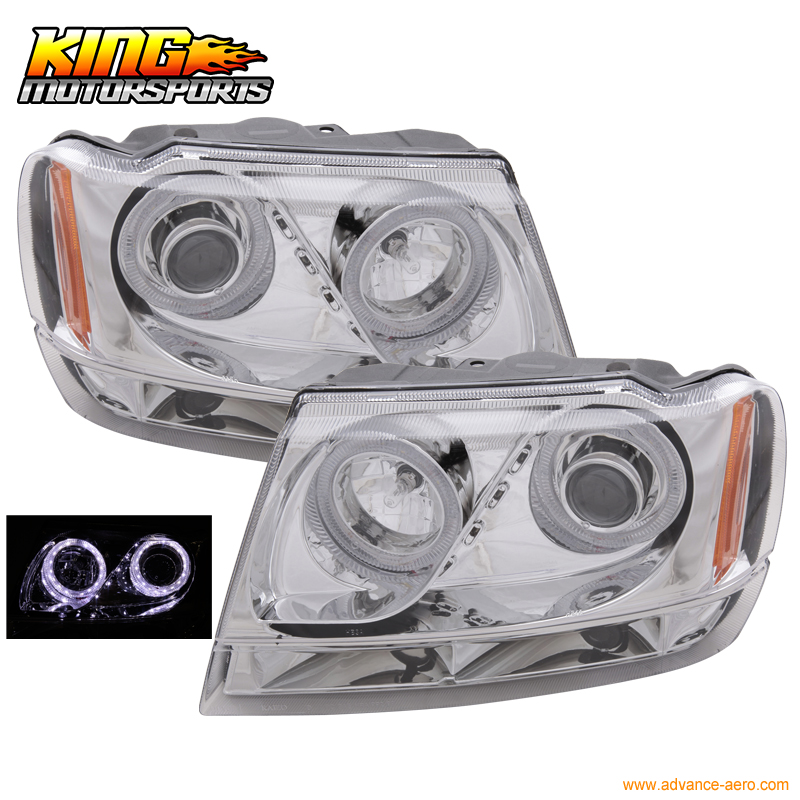 Fit For 1999-2004 Jeep Grand Cherokee LED Halo Projector Headlamp Headlights Chrome USA Domestic Free Shipping