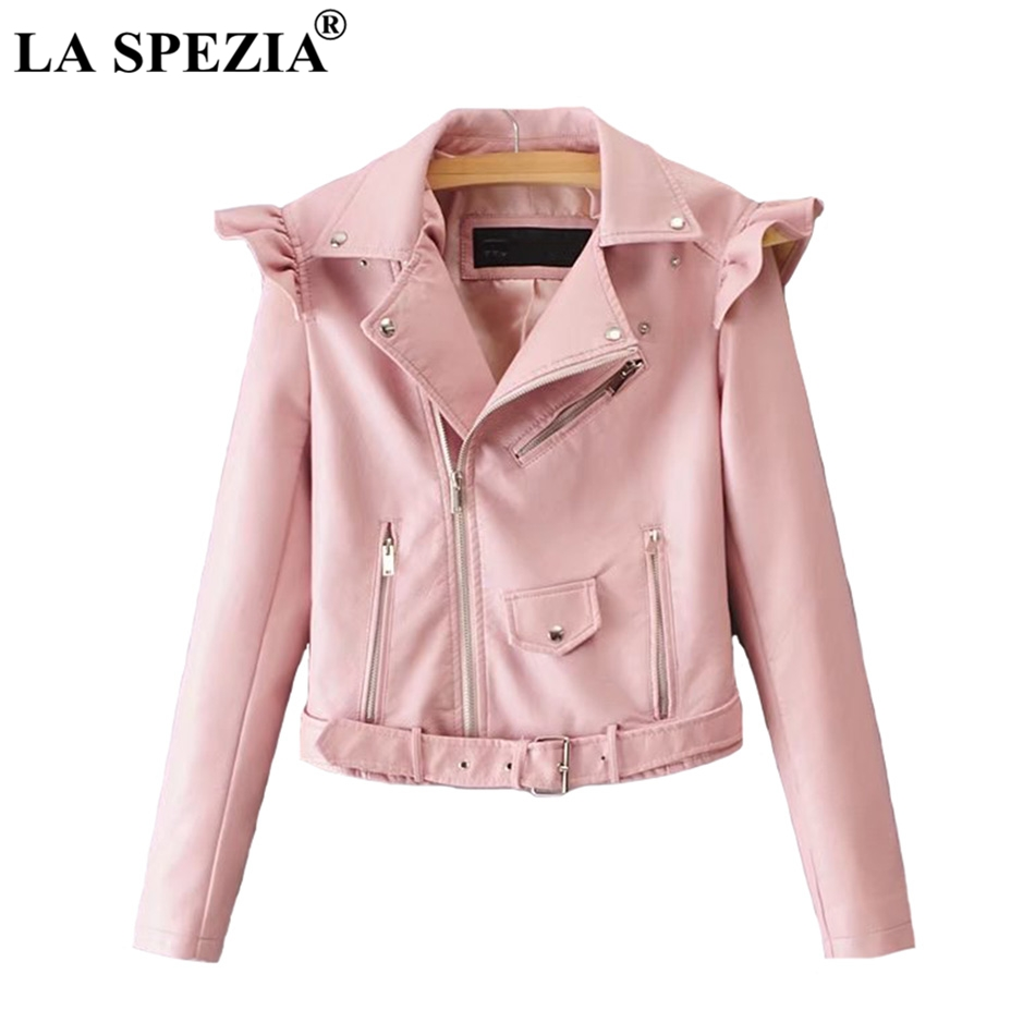 LA SPEZIA Faux   Leather   Jacket For Women Pink Zipper Jacket Female With Belt Pockets Rivet Irregular Biker Motorcycle Autumn Coat