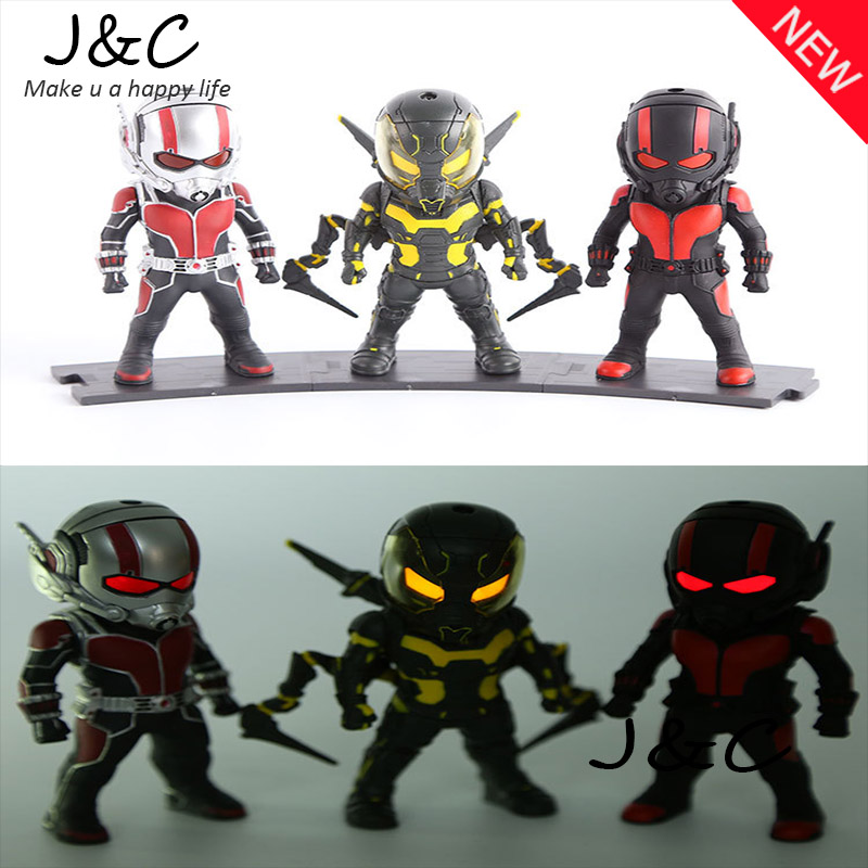 3pcs/set Ant-man Action Figures Q version Collectible Model toys Marvel Eyes glow Avengers Classic figures Children Gift toys фигурка ant man ant man yellow jacket pop marvel