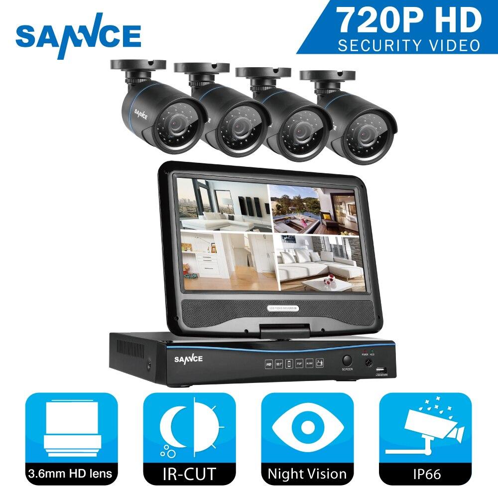 SANNCE 4CH CCTV Système 10.1 pouces afficheur 5in1 DVR 4 PCS 720 P Caméra Extérieure de Sécurité À Domicile Système de Surveillance Kits Alerte Email